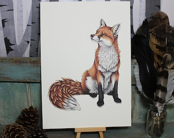 Red Fox Illustration ~ A4 Print on 270gsm Card available in 3 Colours