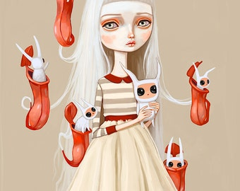 Pop Surrealism Girl wall art print - big eyes girl, creepy cute art, lowbrow art, digital painting, illustration, 8x10
