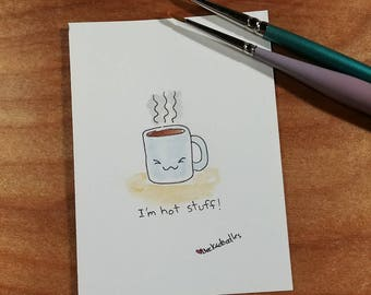 OOAK Mini Doodle Painting of a Coffee Mug