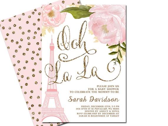Paris baby shower invitation eiffel tower french shower like this item filmwisefo