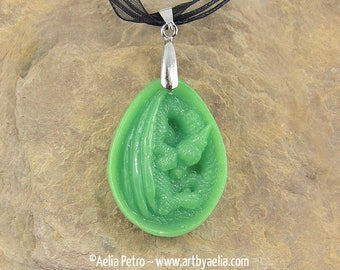 Faux Jade Dragon Egg Relief Necklace - In Stock and Ready to Ship