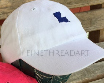 Infant or Small Toddler mini State Baseball Cap Hat for Girls Boys Kids Youth Elastic Baby Hat Pink Blue White Louisiana Texas Home South