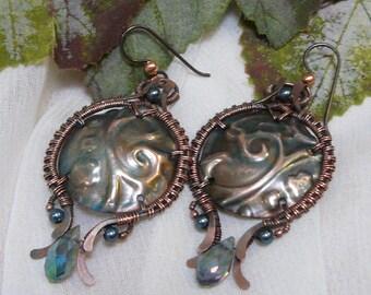 Embossed Copper Earrings ~ Copper Wirewrapped Earrings ~ Copper Shield Earrings ~ Copper Embossed Earrings ~ Copper Earrings ~Green Earrings