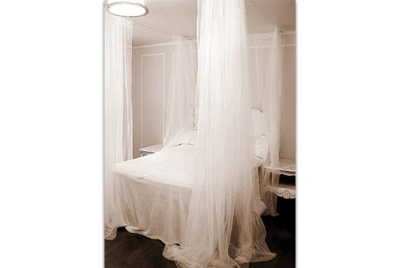 White Bed Canopy   Custom Hanging Bedroom Curtains Ceiling Net Lace Sheers  Privacy Drapery Panels Romantic Elegant Four Poster Bed Drapes