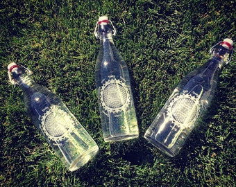 Clear Sri Yantra Etched Italian Glass Water Bottles