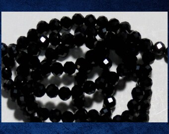 """Agate, Black - 15"""" strand of 3mm faceted round ball. Approx 136 gemstone beads. #AGAT-463"""