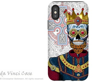 Celtic Sugar Skull iPhone X Tough Case - Dual Layer Protection for iPhone 10 - O'Skully King of Celts by artist Christopher Beikmann