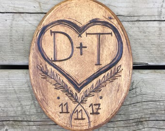 Handmade personalized wood sign, wedding date gift, wood burned gift, wood burned wedding gift, wedding gift, Anniversary Couples Initials