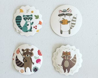 Raccoon Deco Stickers, Seal Stickers, Gift Wrapping Labels, Packaging Labels, Reward Stickers, Scrapbooking Stickers, Card Embellishments