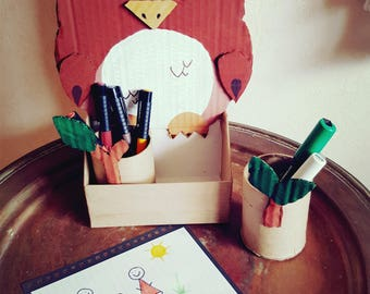 Jars with pencils / OWL / upcycled cardboard / room decor / kids / Office