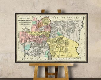 Central Falls map - Pawtucket map - Vintage map restored - Old map of Central Falls and Pawtucket print