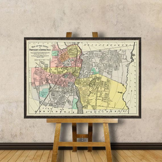 Central Falls map Pawtucket map Vintage map restored Old