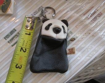 Panda Bear-Change- Purse- small-Coin-Purse- Zipper back- Key-Chain-Vintage - Panda - KOREA-Leather POUCH