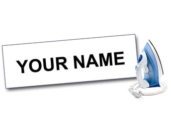 100 IRON ON Clothing Labels, 1, 2, or 3 Lines, Personalized with Your Text