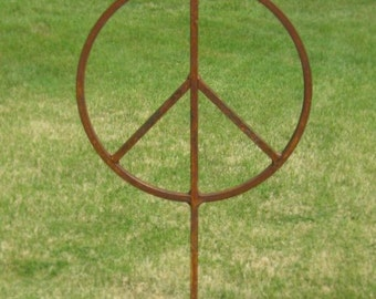 Outdoor Metal Peace Sign Garden Art five and one half feet tall