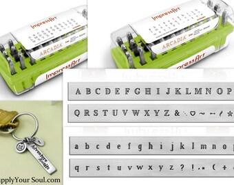 ImpressArt Arcadia Alphabet Stamp Set, 3mm Upper or Lower Case, Stamps for Metals in Case