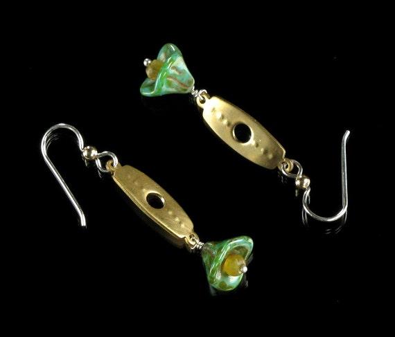 Brass Dangle Earrings, Drop Earrings, Unique Brass Metal Earrings, Mixed Metal Jewelry, Handmade Jewelry Gift Idea for Her, Modern Earrings