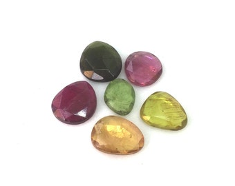 6 Pieces Multi Tourmaline Lot,Rose Cut Cabochon,Rose Cut Stones,Tourmaline Cabochon,Rose Cut Natural Tourmaline Gemstones,Tourmaline,9-11 mm
