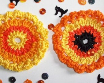 "Crochet Flower Applique, 2pc  3""  Large Crochet  Halloween Flower Applique Sewing Embellishments Free Gift."
