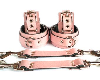 "Baby Pink Leather BDSM Bondage Restraints - 3/4"" Dee Rings - 1-1/2"" lockable wrist & ankle cuffs 4 fetish sub"
