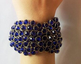 Blue Bangle/Sapphire Beaded Bracelet/Beaded Bangle/Dark Blue Wire Wrapped Bracelet/ Tribal Bracelet/Wedding  Bracelet/Bridal Cuff Bracelet