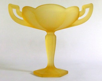 Vintage Sunny Yellow Satin Glass Westmoreland Compote, Pedestal, Candy Dish - 2 Handle, Yellow Mist, Colonial, Frosted, Lemon, Spring Decor