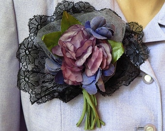 Vintage Style Floral Corsage Brooch Purple Flowers & Black Silk Lace, Hand made with Vintage Lace and Millinery Floral