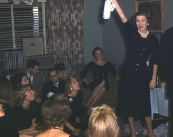 1950's Kodachrome Picture Slide of Christmas Party