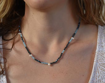 Delicate Freshwater Pearl, Seed Bead, and Sterling Silver Necklace 19""