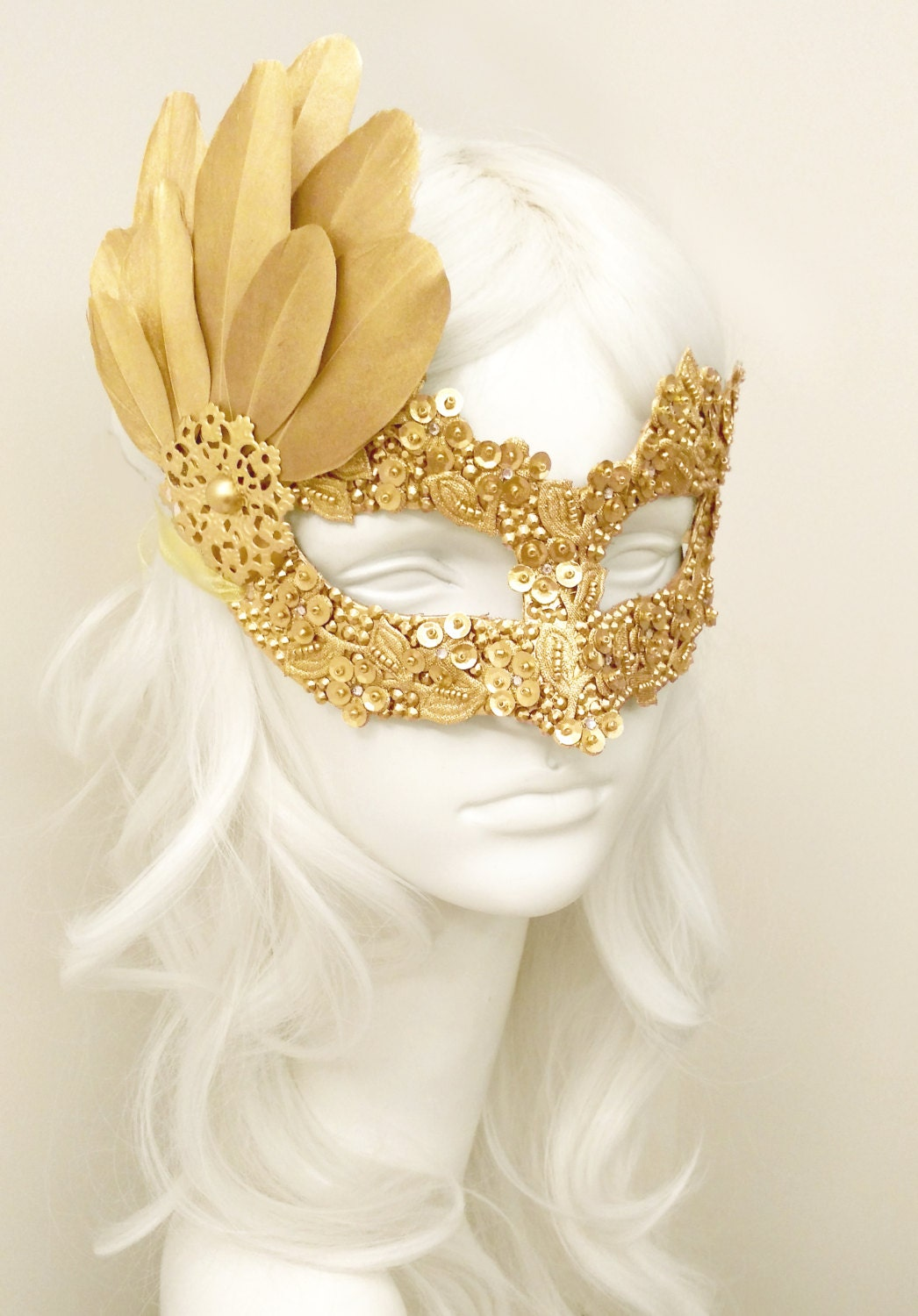 Sequined Gold Masquerade Mask With Rhinestones And Feathers