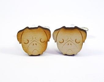 Wooden Pug Face Cufflinks, Laser Cut Wood Cufflinks, Wooden Cufflinks