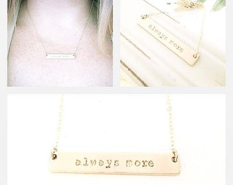 Custom My Word 14k Gold Filled Bar Necklace - Personalized Jewelry - Celebrity Inspired Trendy Hand Stamped Bar Pendant - Inspirational Gift
