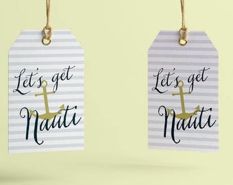 Let's Get Nauti Bachelorette Thank You Tags Printable, Custom Tags for Bachelorette Favors, Hen Party, Sailor favor tags template, Printed