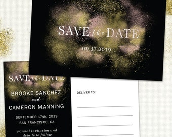 Gold and Rose Gold Dust Look on Black Save the Date Postcard or Flat Card; Printable, Evite or Printed (US Only) Announcements
