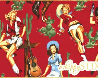 Pinup Girl Flannel Fabric By the Yard, Shoot From the Hip by Alexander Henry, BTY Red Western Cowgirls Cotton Flannel, Hard to Find