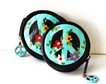 Peace Sign Coin Purse Hand Painted Flowers Boho Bag Accessories Teen Gift FREE SHIPPING