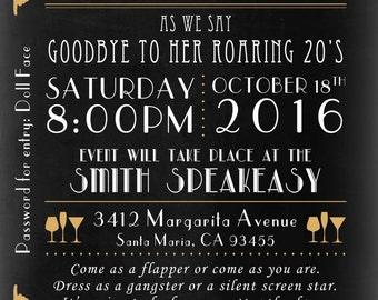 Roaring 1920's Speakeasy Birthday Invitation for Adults - 1920's Party - Speakeasy - Birthday Party - Party Invitation - Turning 30 Invite