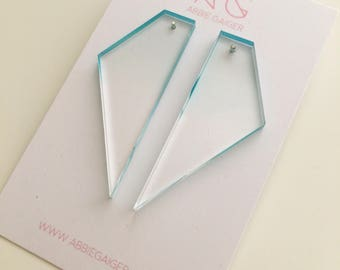 Ombre Blue and Clear Geo Shard Stud Earrings  - Bold Laser Cut Hand Dyed Dip Dyed Gradient Acrylic Perspex Geometric Earrings
