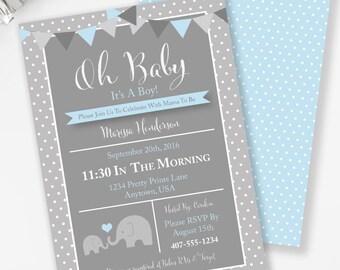 Elephant Invitation, Boy Baby Shower, Safari Baby Shower, Blue & Gray Polka Dot, Elephant Baby Shower, Circus Shower, Printable Invite, #E2