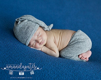 RTS - Newborn Up cycled Heathered Gray Sleeping Cap and Pants Outfit - Photography Prop Set - Ready to Ship