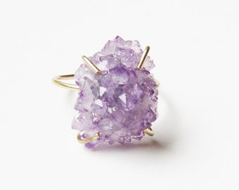 Amethyst Crystal Gold Ring