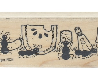 Whipper Snapper Designs F024 Picnic Ants  Wooden Rubber Stamp