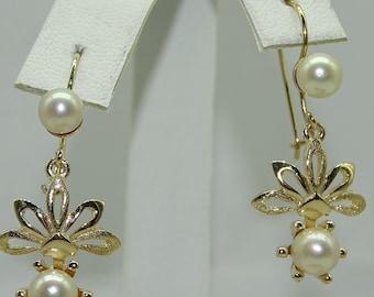 14k Yellow Gold Pearl EarrIngs. Pearl 4.5mm- 5mm