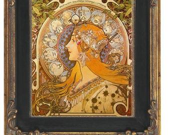 Art Nouveau Art Deco Art Print 8 x 10 - Celestial Goddess - Astrology Zodiac
