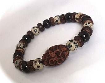 Mens Onyx Gemstone Surfer Bracelet Dalmatian Jasper Hand Carved Wood Bead Mala Boho Surfer Jewelry Tribal Bracelet