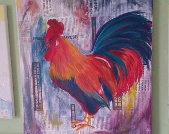 16x20 canvas rooster art