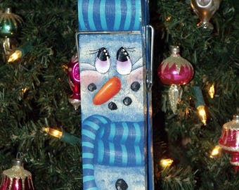 "Hand Painted Original Design 9"" Wooden SNOWMAN MEMO CLIP - Home Decor - Kitchen Decor - Holiday Decor - Winter Decor - Snowman - Memo Clip"