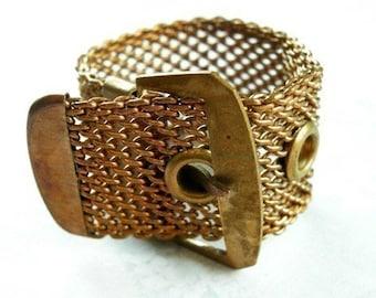 HUGE Raw Brass Mesh Buckle Ring (1X) (J480)