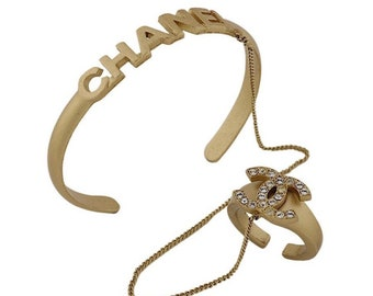 Authentic Vintage Chanel Gold Chain Linked Bracelet & Ring