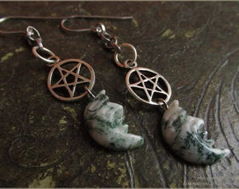 Pentacle pentagram Moon witch earrings sterling silver Dendritic Opal Merlinite - magic pagan witch